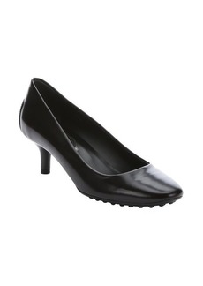 Tod's black leather kitten heel pumps