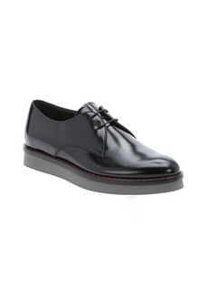 Tod's black leather lace-up derby oxfords