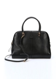 Tod's black leather large top handle tote