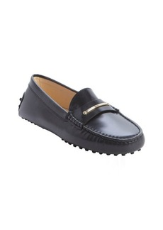 Tod's black leather leather strap accent loafers