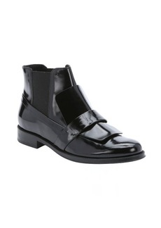 Tod's black leather loafer slip-on chelsea booties