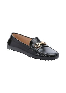 Tod's black leather logo buckle driving loafers
