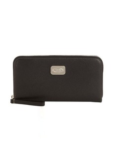 Tod's black leather logo plaque zip continental wallet