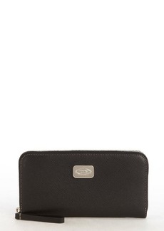 Tod's black leather logo plaque zipper continental wallet
