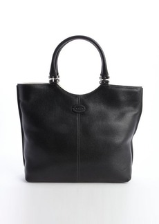 Tod's black leather logo 'Shopping Media' tote