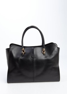 Tod's black leather logo stamp large top handle tote