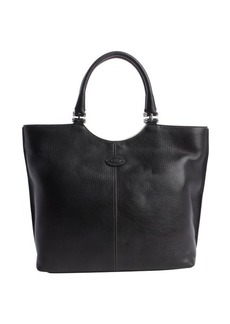 Tod's black leather logo stamp shoulder bag