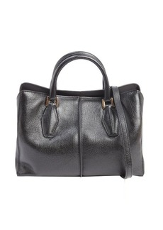 Tod's black leather mini top handle bag