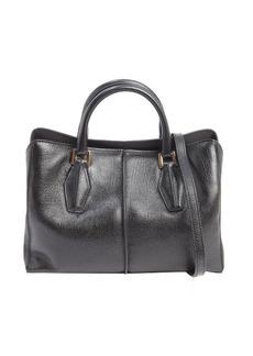 Tod's black leather mini top handle bag