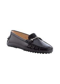 Tod's black leather moc toe horsebit loafers