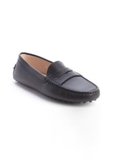 Tod's black leather penny strap slip-on loafers
