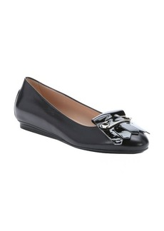 Tod's black leather pin and fringe detail flats