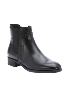 Tod's black leather pinked chelsea ankle booties