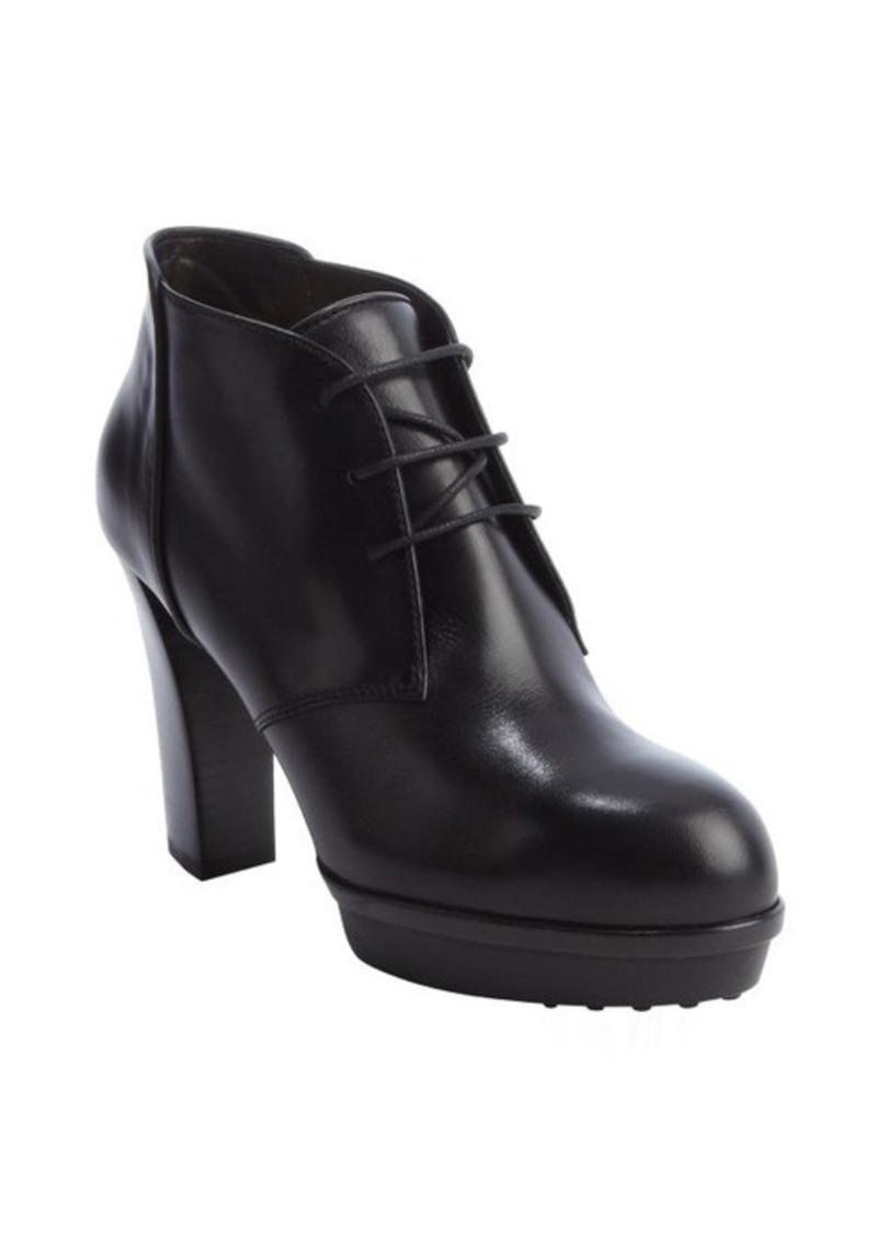 Tod's black leather platform lace up heel oxfords