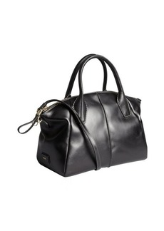 Tod's black leather raised seam convertible tote