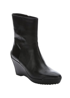 Tod's black leather side zip wedge ankle booties