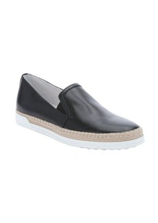 Tod's black leather slip-on espadrille sneakers