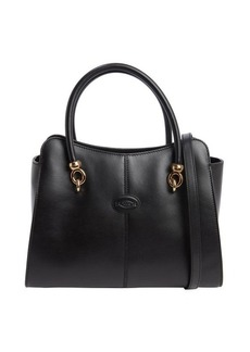 Tod's black leather small top handle tote