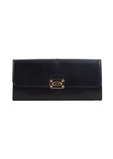 Tod's black leather snap flap continental wallet