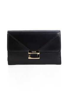 Tod's black leather snap flap wallet