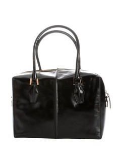 Tod's black leather structured tote bag