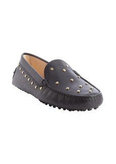 Tod's black leather studded slip on loafers
