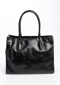 Tod's black leather suede accent top handle large tote