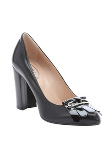 Tod's black leather tassel detail pumps