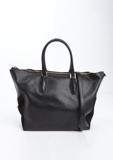 Tod's black leather top handle large convertible bag