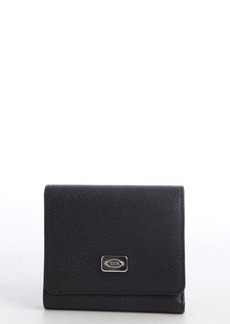 Tod's black leather tri fold wallet