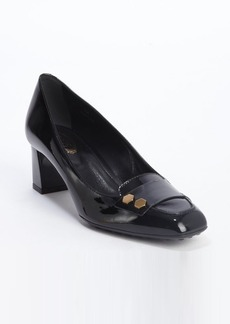 Tod's black patent leather bolt strap pumps