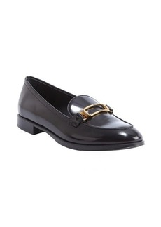 Tod's black patent leather buckle detail slip-on loafers