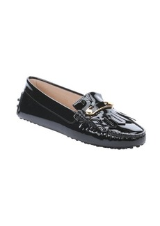 Tod's black patent leather fringe detail driving loafers