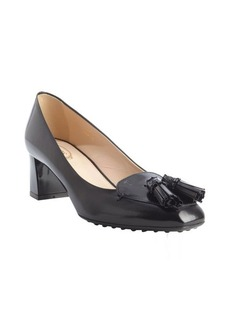 Tod's black patent leather fringe tassel pumps