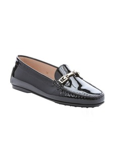 Tod's black patent leather horsebit detail loafers