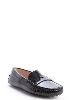 Tod's black patent leather penny strap slip-on loafers