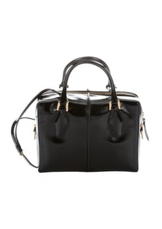Tod's black patent leather small convertible top handle bag