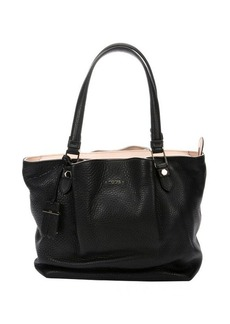 Tod's black pebbled leather top handle tote