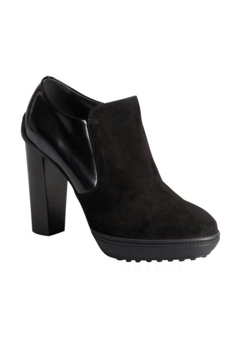 Tod's black suede and patent side zip wooden heel booties