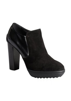 Tod's black suede and patent side zip wooden heel booties