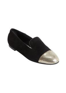 Tod's black suede gold cap toe flats