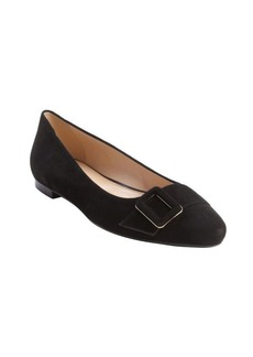 Tod's black suede pointed toe buckle detail flats