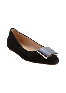 Tod's black suede pointed toe flats