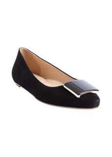 Tod's black suede square emblem pointed toe flats