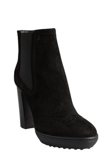 Tod's black suede wingtip toe ankle boots