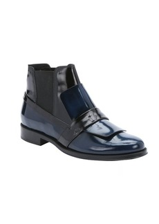 Tod's blue and black leather loafer slip-on chelsea booties