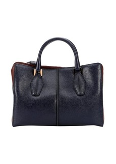 Tod's blue and brown leather colorblock convertible tote bag