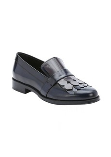 Tod's blue and grey leather fringe detail loafers