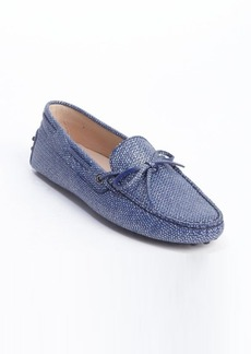 Tod's blue and silver leather bow tie detail slip-on loafers