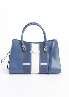 Tod's blue and white leather and suede 'Sellas Medium Shopping' bag